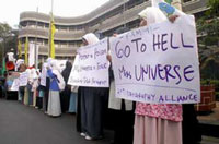Miss Universe protest in Bandung Indonesia
