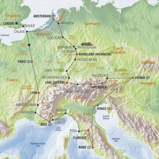 The Cosmopolitan Europe travel map