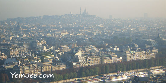 Bird eye view of Paris from Eiffel Tower