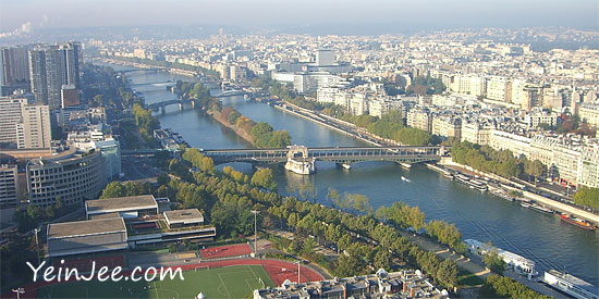 Bird eye view of Seine from Eiffel Tower