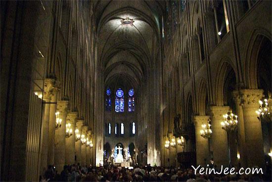 Inside the Notre Dame, Paris, France