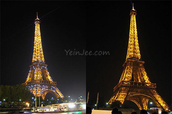Eiffel Tower at night, Seine river cruise, Paris