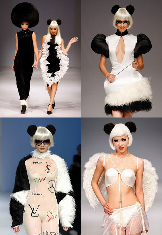 Zhao Bandi panda fashion at China Fashion Week