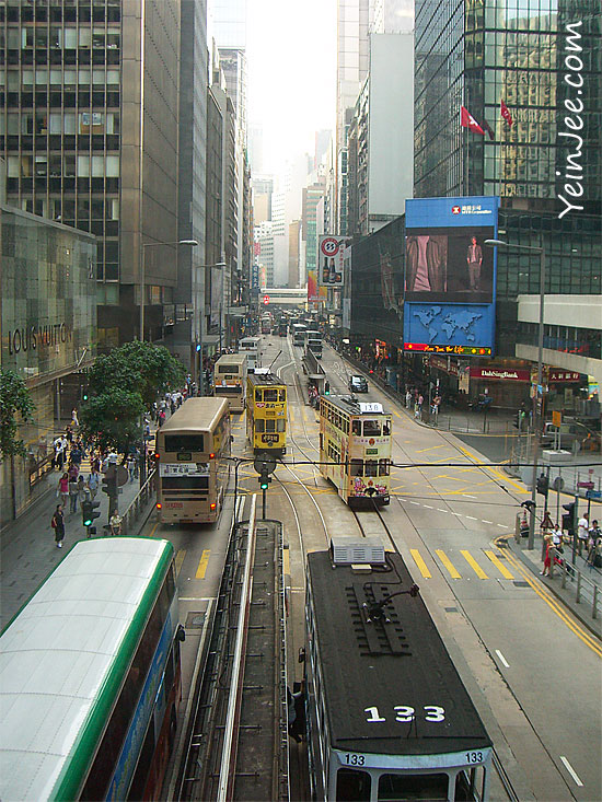 Hong Kong Central street, buses and trams