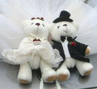Teddy bear wedding mascot