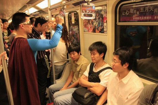 Superman on Shanghai Metro