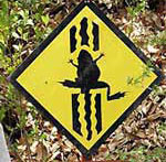 Road sign to save crossing frogs in Japan