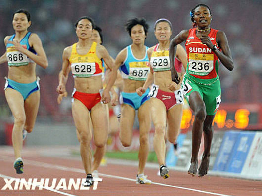 Sudan track runner running on bare feet in Beijing Olympic test event