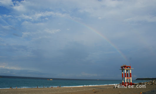 Rainbow at Qisingtan near Hualian city, Taiwan