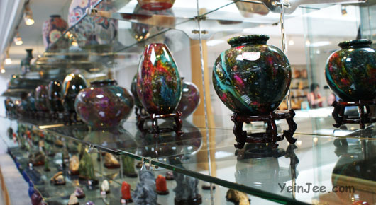 Jade vases in a jade museum in Hualian, Taiwan