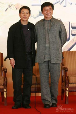 Jackie Chan and Jet Li at The Forbidden Kingdom media event
