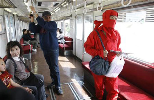 Ninja enjoying free train ride in Iga, Japan