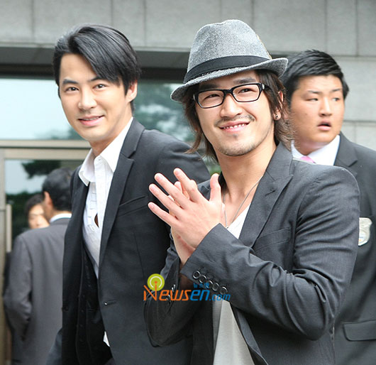 Jun Jin and Lee Min-woo at Yoo Jae-suk wedding in Seoul, Korea