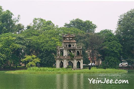 Thap Rua at Hoan Kiem Lake in Hanoi, Vietnam