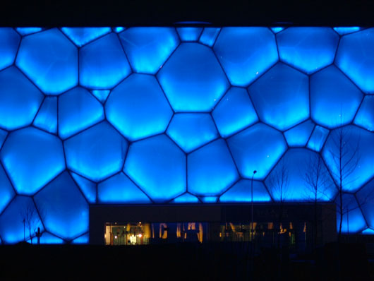 Beijing National Aquatics Centre at night, China