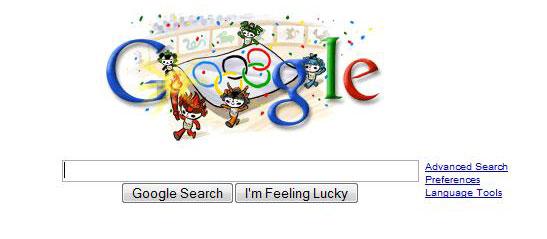 Google holiday logo for Beijing Olympics