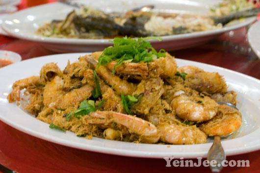 Prawn dish of a Chinese banquet at Kok Thai restaurant, Ipoh, Malaysia