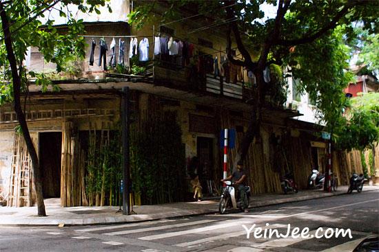 Bamboo street in Hanoi Old Quarter, Vietnam