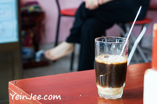 Vietnamese ice-milk coffee in Hanoi