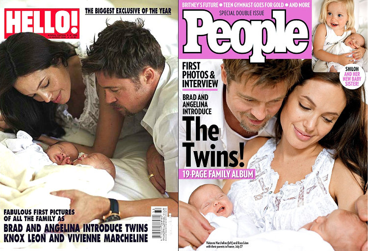 Angelina Jolie, Brad Pitt and their twins on Hello magazine