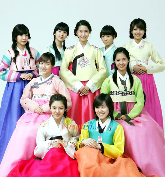 Picture of Korean pop group Girls Generation wishing Happy Chuseok