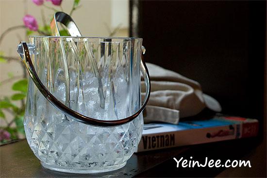 Ice bucket at Caycau restaurant in Hanoi, Vietnam