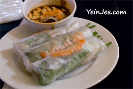 Traditional spring roll at Quan An Ngon restaurant in Hanoi, Vietnam