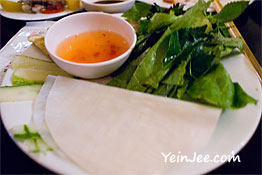 Rice wrapper and lemon grass at Quan An Ngon restaurant in Hanoi, Vietnam