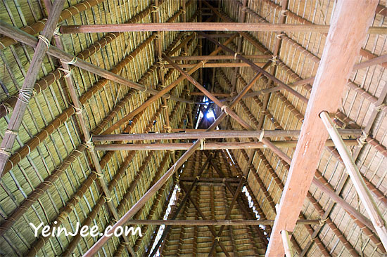 Traditional Bahnar communal house at Museum of Ethnology in Hanoi, Vietnam