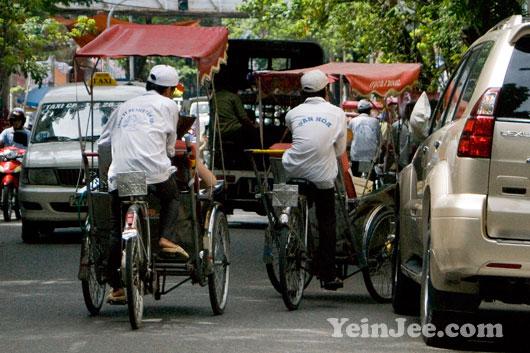 Photo of cyclos in Hanoi, Vietnam