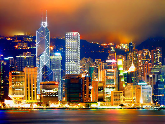 Picture of Hong Kong Central and Victoria Harbour at night