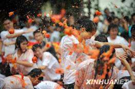 Picture of tomato war in Dongguan city, China