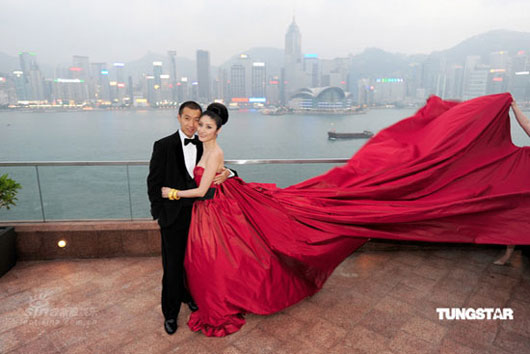 Picture of Kelly Chen and Alex Lau at wedding ceremony