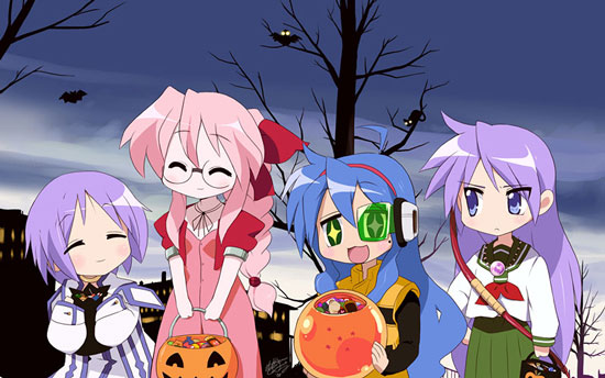 Picture of Lucky Star anime characters in Halloween costumes