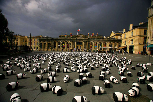 Picture of panda models parade at Trocadero Esplanade in Paris, France