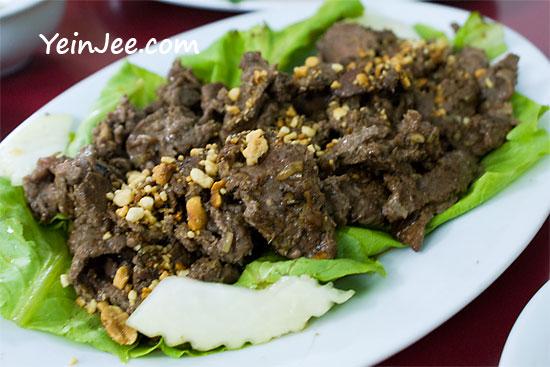 Tasty beef at Hue Food Restaurant in Hanoi, Vietnam