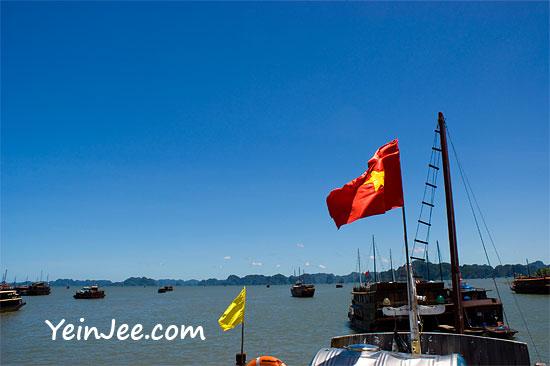 Junk boats departing at Halong Bay, Vietnam