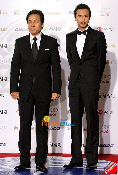 Korean actors Ahn Sung-ki and Kim Nam-gil at Blue Dragon Film Awards 2008 in Seoul