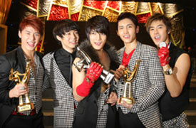 Picture of Korean pop group TVXQ at 23rd Korean Golden Disk Awards in Seoul
