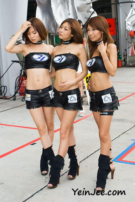 Japanese race queens Nanami Norishima, Mai Masaki and Ema Tokunaga at Super GT Malaysia 2008
