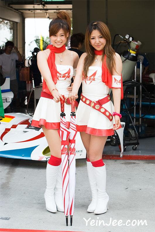 Japanese race queens Airi Nagasaku and Rika Ootsuka at Super GT Malaysia 2008