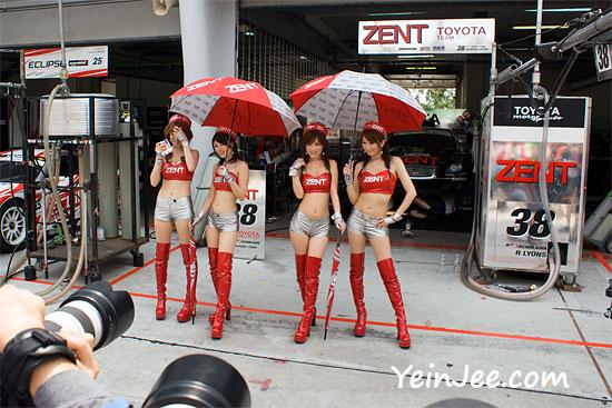 Japanese race queens Kaori Morita, Hitomi Furusaki, Mayu Oya and Junko Iida at Super GT Malaysia 2008