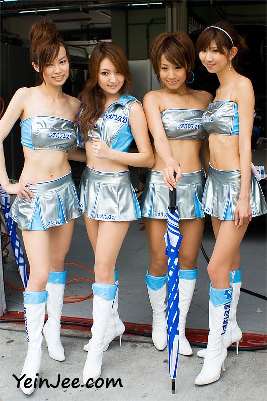Japanese race queens Izumi Morita, Risa Kobayashi, Yayoi Uehara and Rika Gotou at Super GT Malaysia 2008