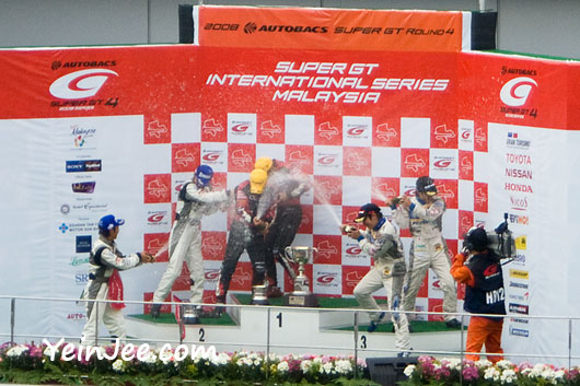 Podium celebration of GT300 winners at Super GT International Series Malaysia 2008