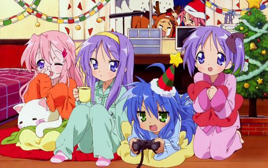 Luck Star anime characters celebrating Christmas