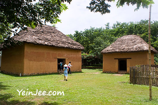 Traditional ethnic houses at Museum of Ethnology in Hanoi, Vietnam