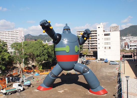 Life-size Tetsujin 28-go giant robot statue in Kobe, Japan