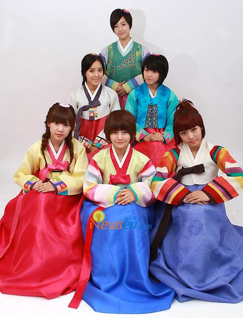 Korean pop group T-ara in Hanbok for Chuseok