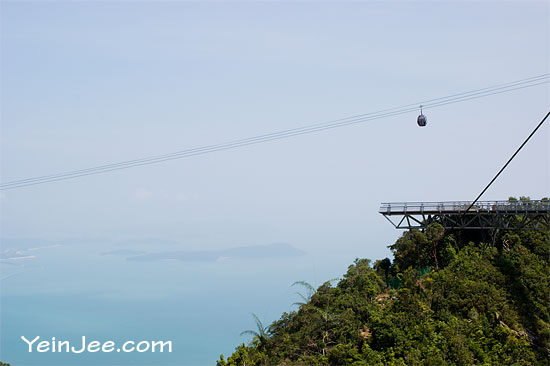 Sea view and cable car at Mat Cincant Mountain in Langkawi, Malaysia