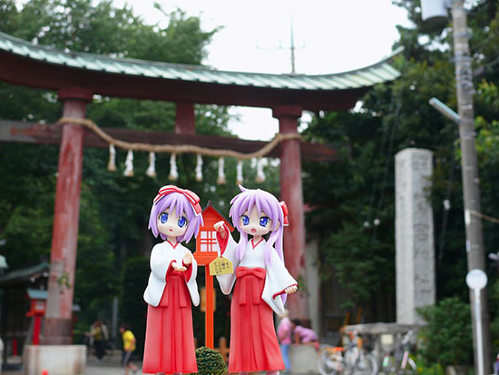 Kagami and Tsukasa Hiiragi Washinomiya Shrine Japan